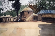 Arunava Ray | Watercolor Painting title Village In Bengal on Paper | Artist Arunava Ray Gallery | ArtZolo.com