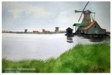 Cityscape Watercolor Art Painting title 'Vollendam The Netherlands' by artist Arunava Ray