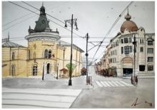 Cityscape Watercolor Art Painting title 'Zagreb Croatia' by artist Arunava Ray