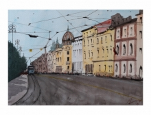 Cityscape Watercolor Art Painting title 'Zagreb Croatia' by artist Arunava Ray