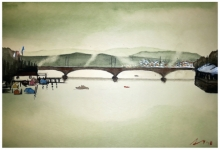 Cityscape Watercolor Art Painting title 'Zurich Switzerland' by artist Arunava Ray
