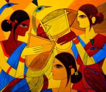 Figurative Acrylic Art Painting title 'Tribal Women' by artist Jiaur Rahman