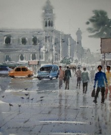 Jiaur Rahman | Watercolor Painting title Rainy Day on Paper