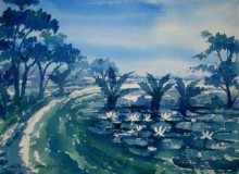 Landscape Watercolor Art Painting title 'Landscape' by artist Jiaur Rahman