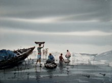 Cityscape Watercolor Art Painting title 'Fishing' by artist Jiaur Rahman