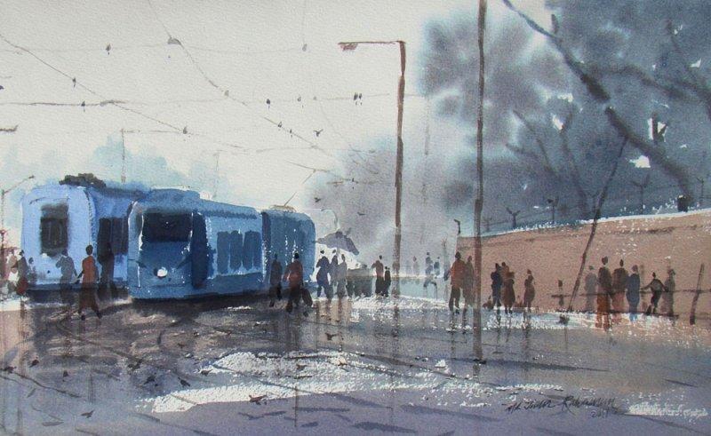 Rainy Day In Kolkata by artist Jiaur Rahman watercolor  : rainydayinkolkata from www.artzolo.com size 800 x 491 jpeg 83kB