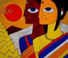 Tribal Women | Painting by artist Jiaur Rahman | acrylic | Canvas
