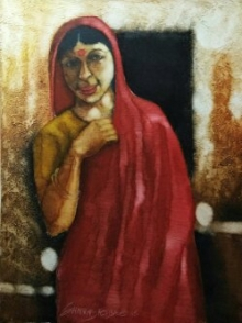 Figurative Oil Art Painting title 'Woman in red saree' by artist SHANKAR KENDALE