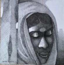 Figurative Pen-ink Art Drawing title Woman with bindi by artist SHANKAR KENDALE