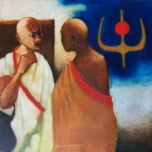 Figurative Oil Art Painting title 'Two bramhins' by artist SHANKAR KENDALE