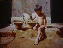 Raghunath Sahoo | Watercolor Painting title Childhood 2 on Paper | Artist Raghunath Sahoo Gallery | ArtZolo.com