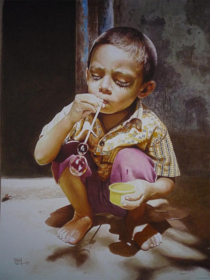 Childhood 1 By Artist Raghunath Sahoo Watercolor Paintings