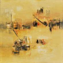 Raju Durshettiwar Paintings | Abstract Painting - Subtle Ochre by artist Raju Durshettiwar | ArtZolo.com