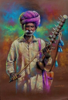 Balwinder Singh | Pastel Painting title The Musician on Canvas | Artist Balwinder Singh Gallery | ArtZolo.com
