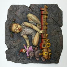 Mixed Media Painting titled 'Girls Playing With Toys' by artist Shashikant Charbe on Fiberglass On Board