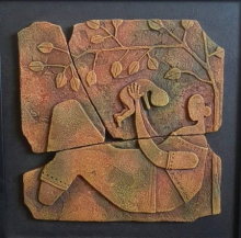Mixed Media Painting titled 'Mother And Child' by artist Shashikant Charbe on Ceramic On Board