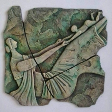 Mixed Media Painting titled 'Playing Mother And Child' by artist Shashikant Charbe on Ceramic On Board
