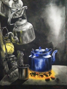 Saikat Maity | Watercolor Painting title Tea Time on Paper | Artist Saikat Maity Gallery | ArtZolo.com