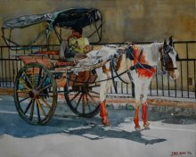 HORSECART | Painting by artist Dr.uday Bhan | watercolor | Paper