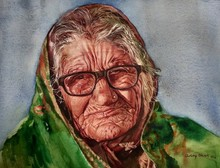 Portrait Watercolor Art Painting title Untitled by artist Dr Uday Bhan