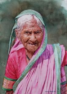 Portrait Watercolor Art Painting title Old lady in pink sari by artist Dr Uday Bhan