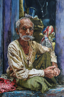 Lifestyle Watercolor Art Painting title 'Toughness' by artist Dr Uday Bhan