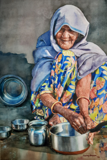 Lifestyle Watercolor Art Painting title 'Old lady' by artist Dr Uday Bhan
