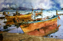 Landscape Watercolor Art Painting title 'Boats' by artist Dr Uday Bhan