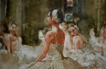 Dr.uday Bhan | Watercolor Painting title Ballet Dancer on Paper | Artist Dr.uday Bhan Gallery | ArtZolo.com