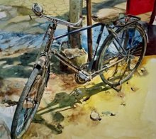 Cycle1 | Painting by artist Dr.uday Bhan | watercolor | Paper