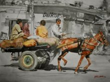 Horse Cart  | Painting by artist Dr.uday Bhan | watercolor | Horse Cart
