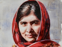 Portrait Watercolor Art Painting title Malala by artist Dr Uday Bhan