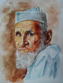 Dr.uday Bhan | Watercolor Painting title Old Man on Paper | Artist Dr.uday Bhan Gallery | ArtZolo.com
