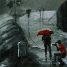 Scenic Acrylic Art Painting title 'Rain Click II' by artist Mopasang Valath