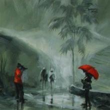 Scenic Acrylic Art Painting title 'Rain Click I' by artist Mopasang Valath
