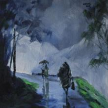 Scenic Acrylic Art Painting title 'Walking In the Rain II' by artist Mopasang Valath