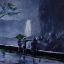 Scenic Acrylic Art Painting title 'Purple Rain' by artist Mopasang Valath