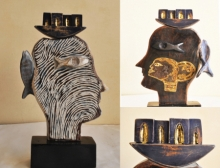Renu Bala | First Person Sculpture by artist Renu Bala on Wood, Brass | ArtZolo.com