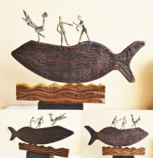 Renu Bala | Fisherman Sculpture by artist Renu Bala on Wood, Metal | ArtZolo.com