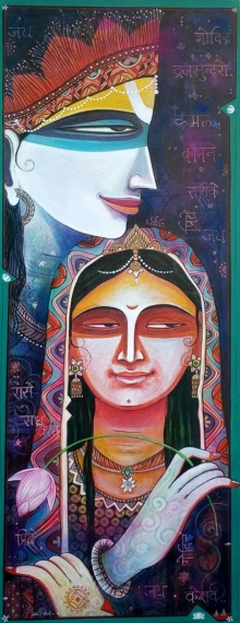 Religious Acrylic Art Painting title Jugal Sree 1 by artist Atin Mitra