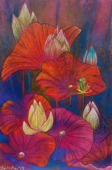 Atin Mitra Paintings | Mixed-media Painting - Melody Of Lotus 3 by artist Atin Mitra | ArtZolo.com