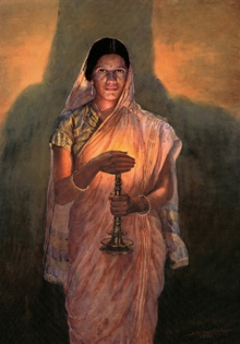 Sawlaram Haldankar | Oil Painting title Lady With Lamp (Glow Of Hope) on Canvas | Artist Sawlaram Haldankar Gallery | ArtZolo.com