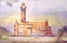 Cityscape Watercolor Art Painting title 'History Is Nostalgic' by artist Mohd Qaseem Farooqui