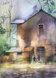 Cityscape Watercolor Art Painting title 'I Can Smell The Aroma' by artist Mohd Qaseem Farooqui