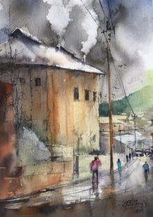 Cityscape Watercolor Art Painting title 'Smoke From Cottage' by artist Mohd Qaseem Farooqui