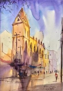 Cityscape Watercolor Art Painting title 'The Church Lane' by artist Mohd Qaseem Farooqui