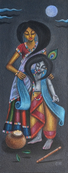 Prem Krishna Das | Acrylic Painting title Yashoda Nandana on Wood dust on canvas | Artist Prem Krishna Das Gallery | ArtZolo.com