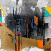 Abstract Acrylic Art Painting title 'First In Grey And Orange' by artist Prabhinder Lall