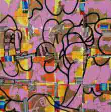 Abstract Acrylic Art Painting title 'Urban Glimpses' by artist Prabhinder Lall
