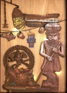 Shriram Mandale | Court Of Gods And Kings Sculpture by artist Shriram Mandale on Teak Wood | ArtZolo.com